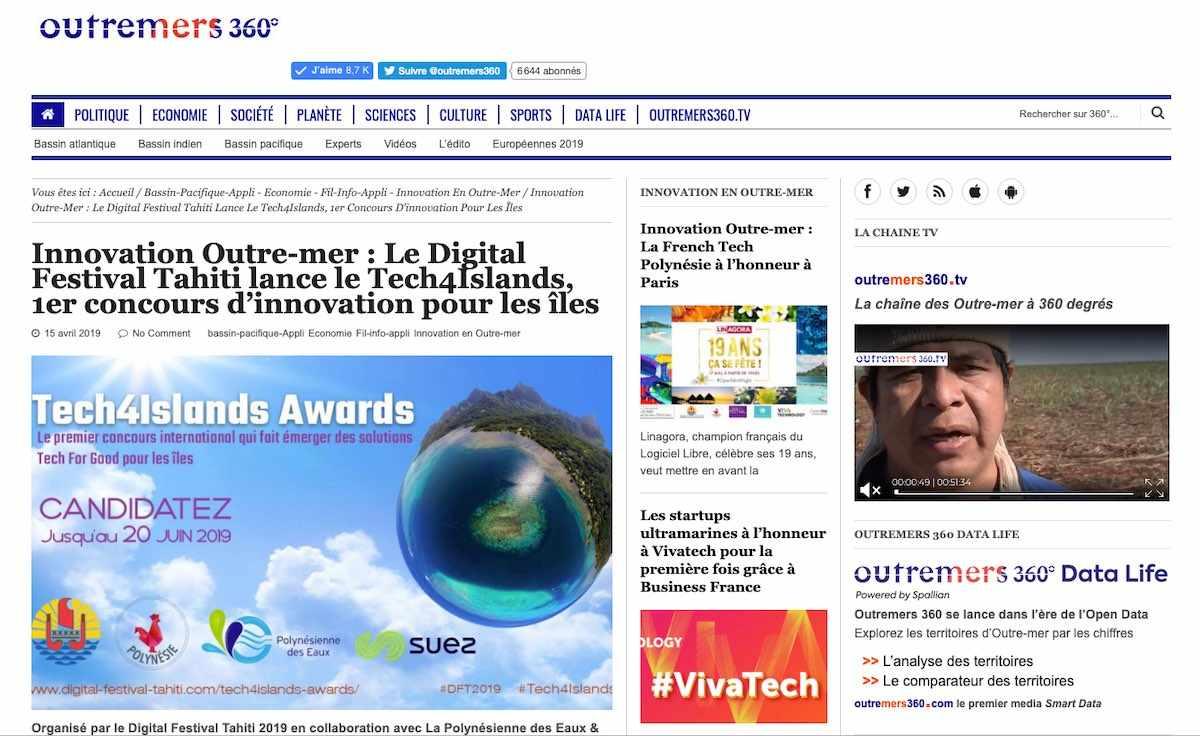 Partenaire média national du Digital Festival Tahiti : Outremers 360°